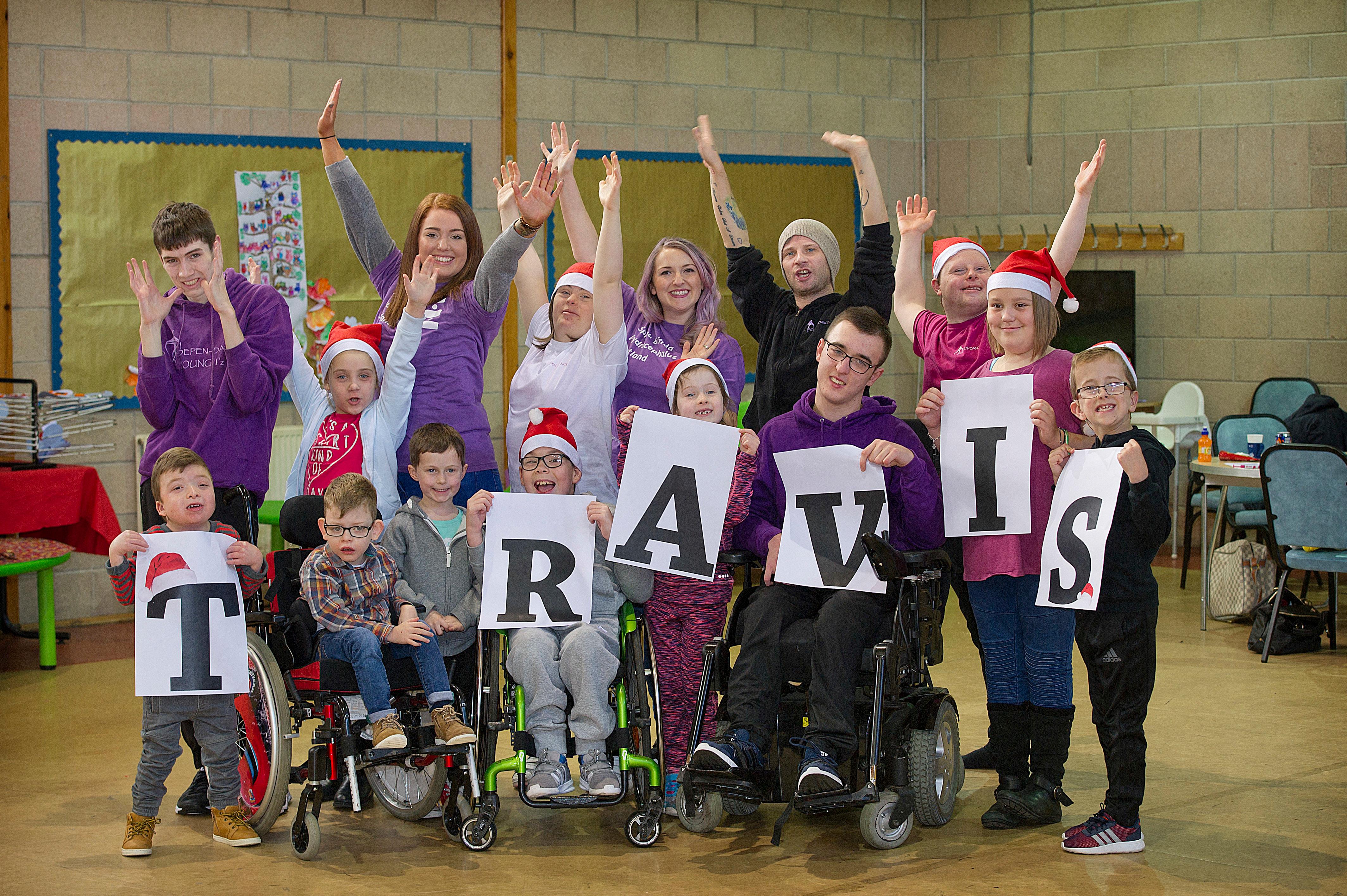 SBH Scotland staff and children celebrating Travis Del Amitri Christmas single