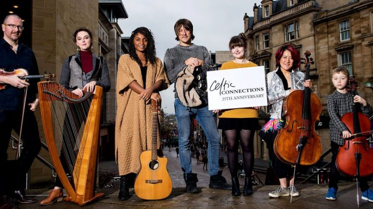 Promo image of performers with instruments for Celtic Connections 2018