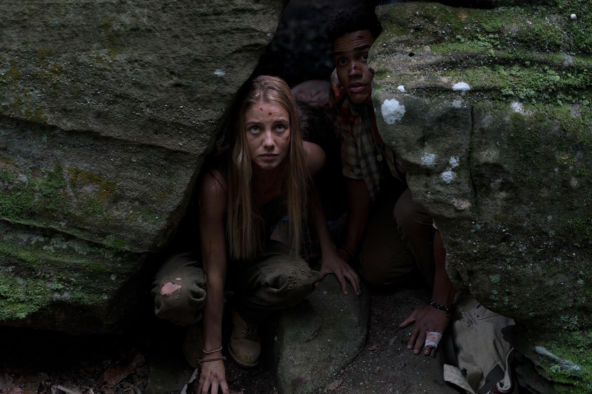 Jen hiding in rocks