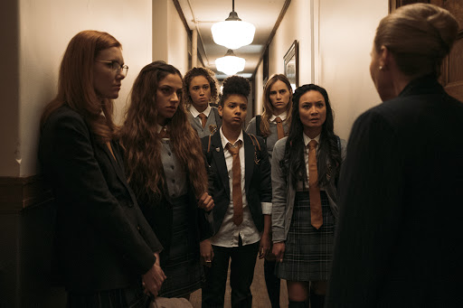 Students confronted by the headmistress