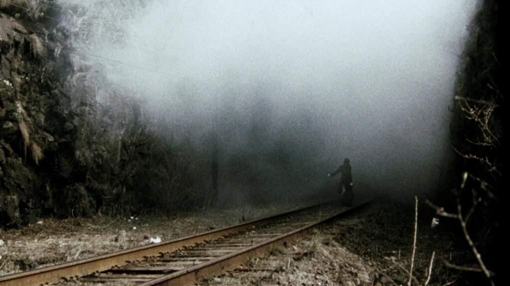 railway tracks in the fog
